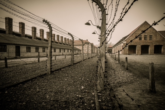 Electric fence in former Nazi concentration camp Auschwitz I, Po