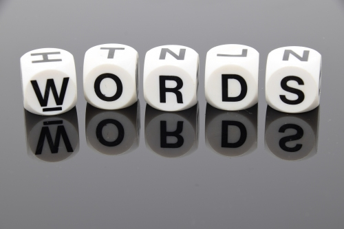 The Word Words Spelt Out In Letter Dice
